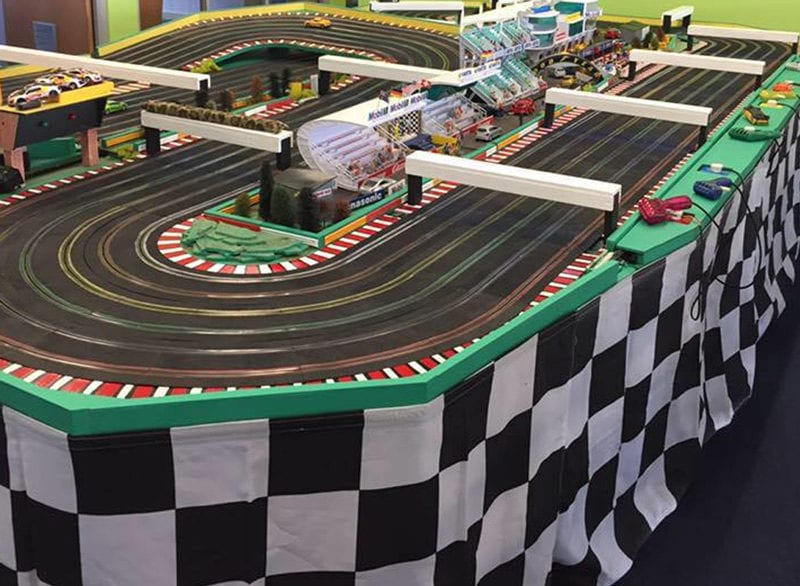 Our 6 Lane Scalextric setup and ready
